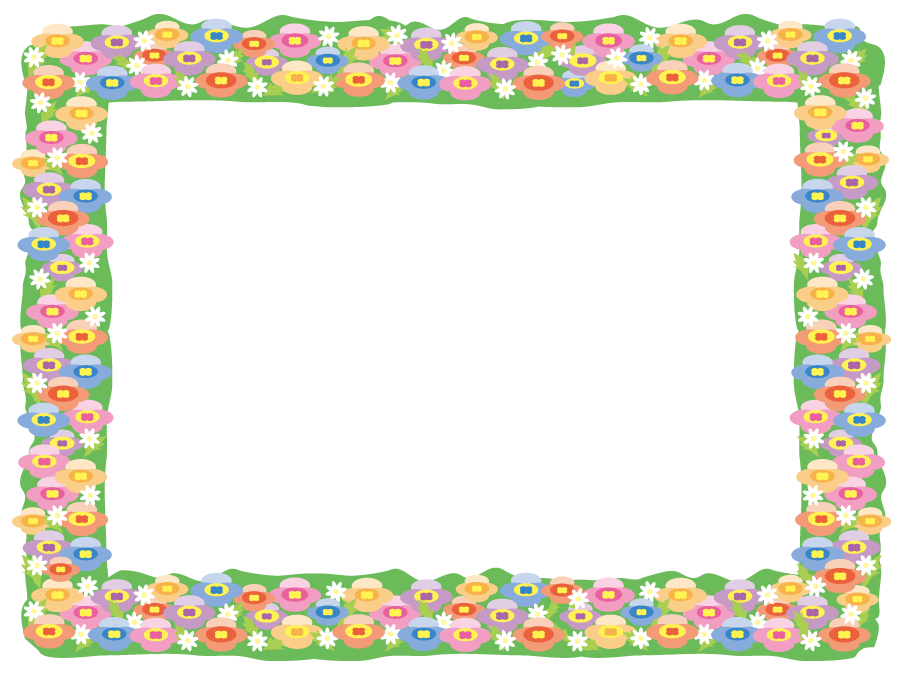 フリー イラストお花畑のフレーム