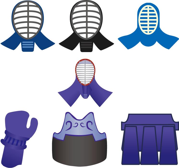 フリー イラスト7種類の剣道の防具セット