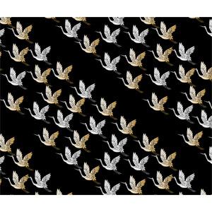 フリーイラスト, ベクター画像, AI, 背景, 和柄, 動物, 鳥類, 鳥(トリ), 鶴(ツル)
