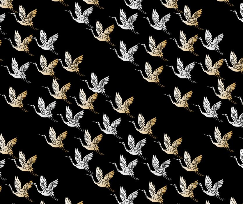 フリー イラスト飛んでいる鶴の和柄背景