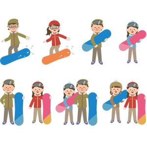 フリーイラスト, ベクター画像, EPS, 人物, 男性, 女性, スポーツ, ウィンタースポーツ, スノーボード(スノボー), 冬, レジャー, スノーボーダー
