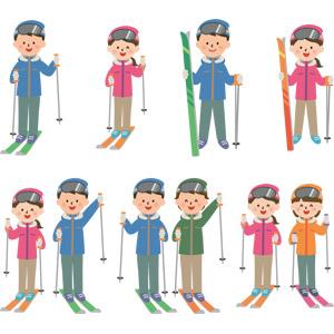 フリーイラスト, ベクター画像, EPS, 人物, 男性, 女性, スポーツ, ウィンタースポーツ, スキー, 冬, レジャー, スキーヤー