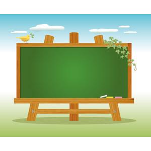 フリーイラスト, ベクター画像, EPS, 背景, 黒板, 青空, つる植物, 小鳥, 葉っぱ, 咥える(動物)