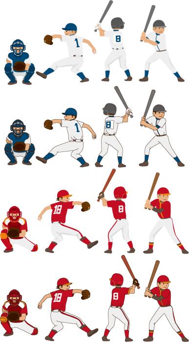フリーイラスト 16種類の野球選手のセット
