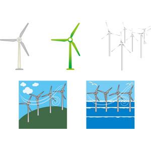 フリーイラスト, ベクター画像, EPS, 機械, 風力発電機, 再生可能エネルギー, 発電, エコロジー