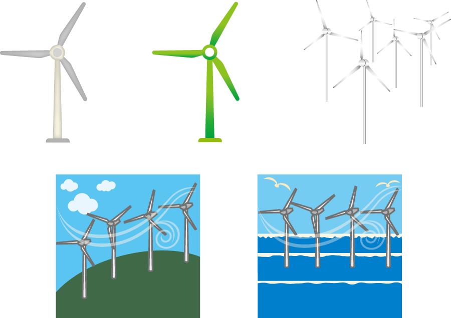 フリーイラスト 風力発電機のセット