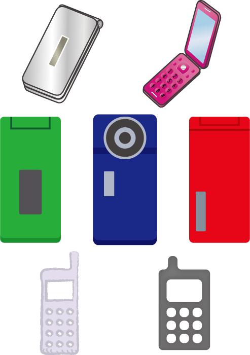 フリーイラスト 7種類のガラパゴス携帯のセット