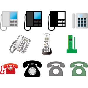 フリーイラスト, ベクター画像, EPS, 電話, 固定電話, 黒電話