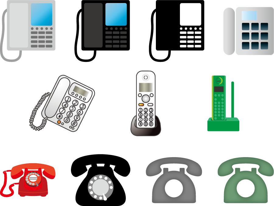 フリーイラスト 11種類の固定電話機のセット