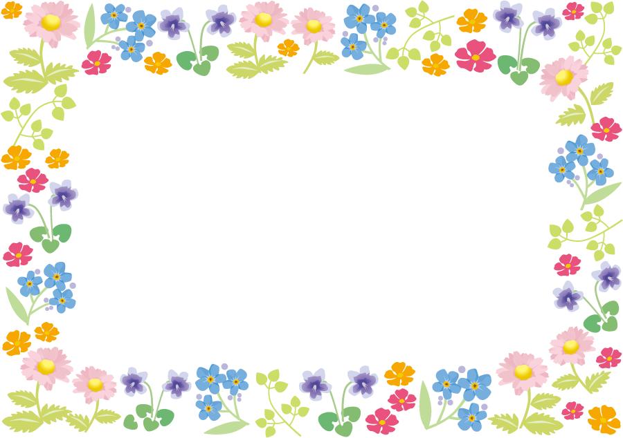 フリーイラスト スミレやマーガレットなどの花のフレーム