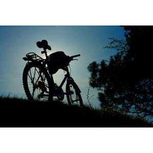 フリー写真, 風景, 乗り物, 自転車, マウンテンバイク, 丘, 草むら, 青空