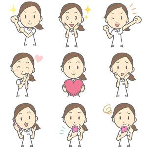 フリーイラスト, ベクター画像, AI, 人物, 女性, 女性(00029), 職業, 看護師(看護婦), 医療, 頑張る, 目を輝かせる, 応援する, 愛(ラブ), ハート, 照れる, 通話, 携帯電話, スマートフォン(スマホ), 頬に手を当てる, 困る