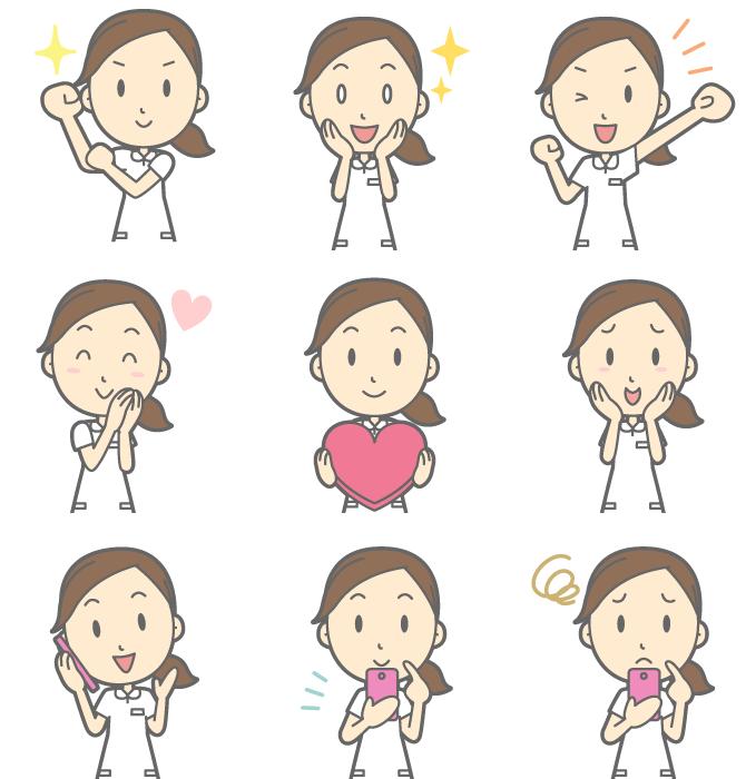 フリーイラスト 腕をまくるなどの9種類の看護婦さんのセット