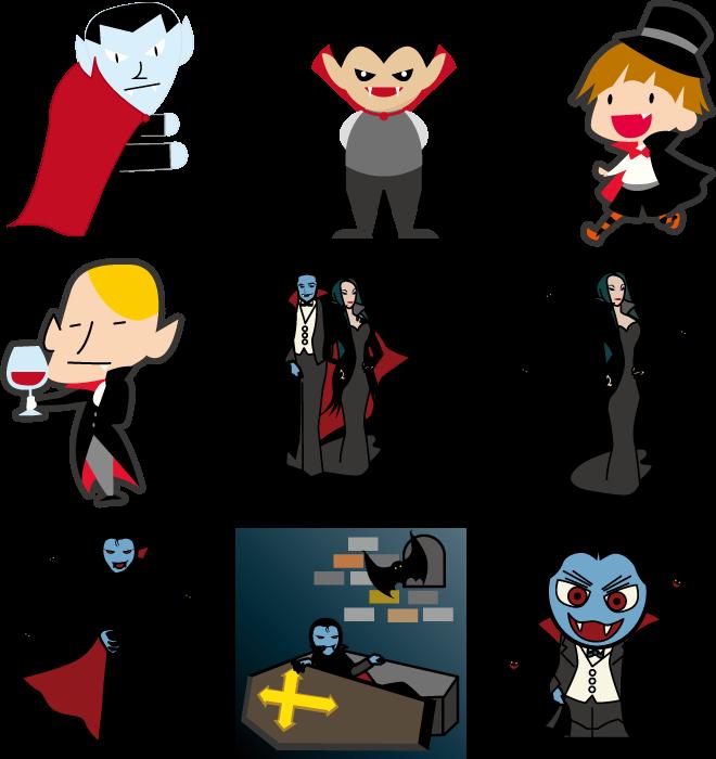 フリーイラスト 9種類の吸血鬼のセット