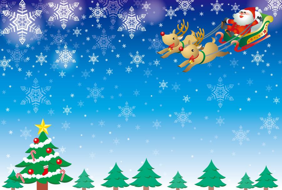 フリーイラスト クリスマスツリーとソリに乗るサンタとトナカイのクリスマス背景