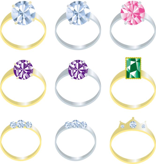 フリーイラスト 9種類の指輪のセット