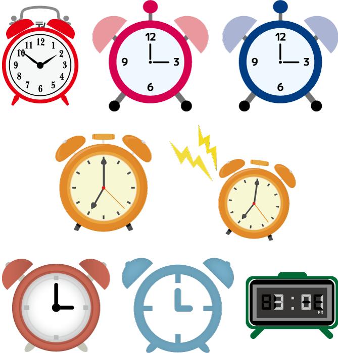 フリーイラスト 8種類の目覚まし時計のセット