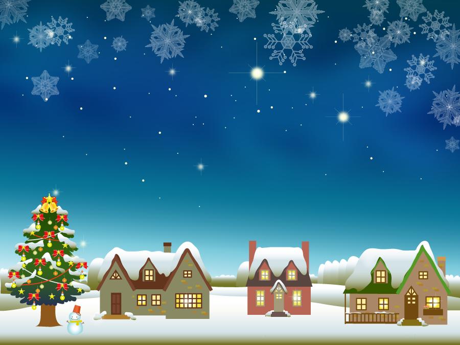 フリーイラスト クリスマスツリーと雪の積もる民家の背景