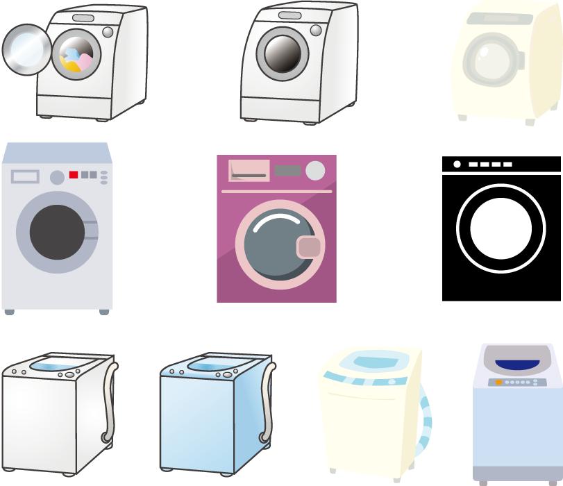 フリーイラスト 10種類の洗濯機のセット