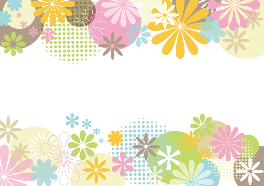 フリーイラスト 花柄とドット柄のフレーム