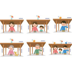 フリーイラスト, ベクター画像, EPS, 災害, 自然災害, 地震, 隠れる, 食卓(テーブル), 人物, 家族, 親子, 父親(お父さん), 母親(お母さん), 子供, 祖父(おじいさん), 祖母(おばあさん), 犬(イヌ)