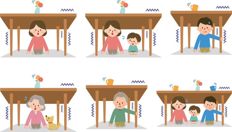 フリーイラスト 地震で机の下に隠れる人々