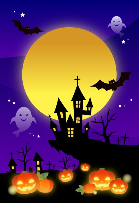 フリーイラスト 満月とジャックランタンのハロウィン背景