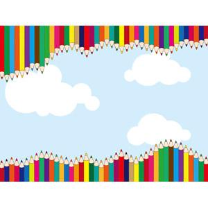 フリーイラスト, ベクター画像, AI, 背景, 画材, 色鉛筆, カラフル, 青空