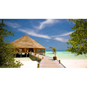 フリー写真, 風景, 建造物, 建築物, 砂浜(ビーチ), 南国, 桟橋, リゾート, バケーション