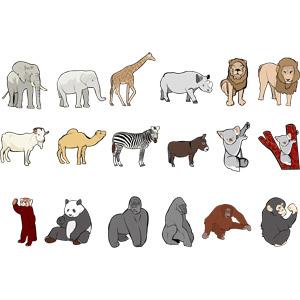 フリーイラスト, ベクター画像, AI, 動物, 哺乳類, 象(ゾウ), キリン, 犀(サイ), ライオン, 山羊(ヤギ), ラクダ, シマウマ, ロバ, コアラ, レッサーパンダ, ジャイアントパンダ, ゴリラ, オランウータン, チンパンジー, 猿(サル)