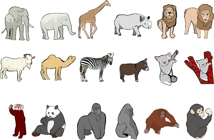 フリーイラスト ゾウやキリンなどの18種類の動物のセット