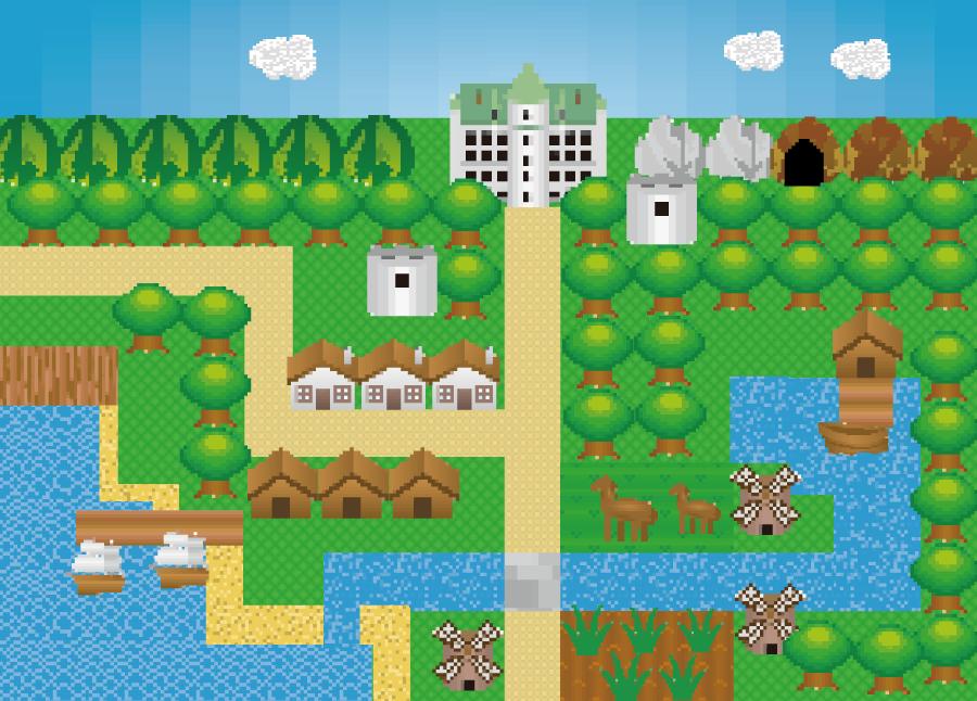 フリーイラスト ドット絵のRPGゲーム画面