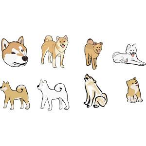 フリーイラスト, ベクター画像, AI, 動物, 哺乳類, 犬(イヌ), 柴犬(シバイヌ), 秋田犬