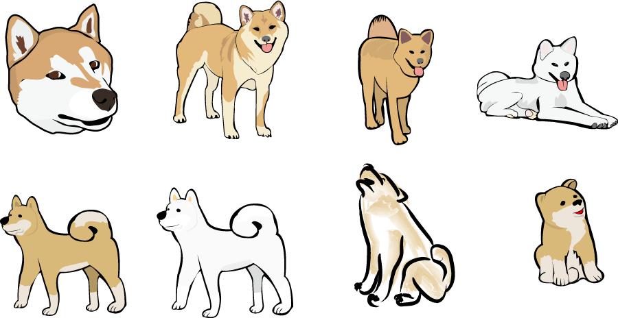 フリーイラスト 8種類の秋田犬と柴犬のセット