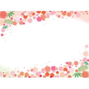 フリーイラスト, ベクター画像, EPS, 背景, フレーム, 上下フレーム, 正月, 1月, 松(マツ), 竹(タケ), 梅(ウメ)