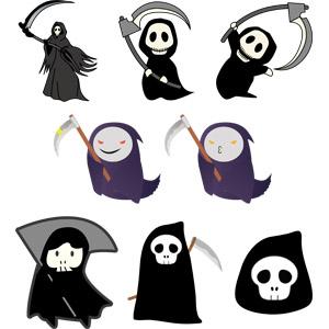 フリーイラスト, ベクター画像, EPS, 死神, 大鎌, 死, 神, ハロウィン(ハロウィーン), 頭蓋骨(髑髏)