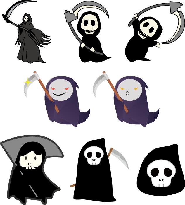 フリーイラスト 8種類の死神のセット