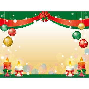 フリーイラスト, ベクター画像, AI, 年中行事, クリスマス, 12月, 冬, クリスマスボール, ろうそく(ロウソク), 雪, 蝶リボン, リボン, セイヨウヒイラギ, 雪の結晶, 背景, フレーム, 囲みフレーム