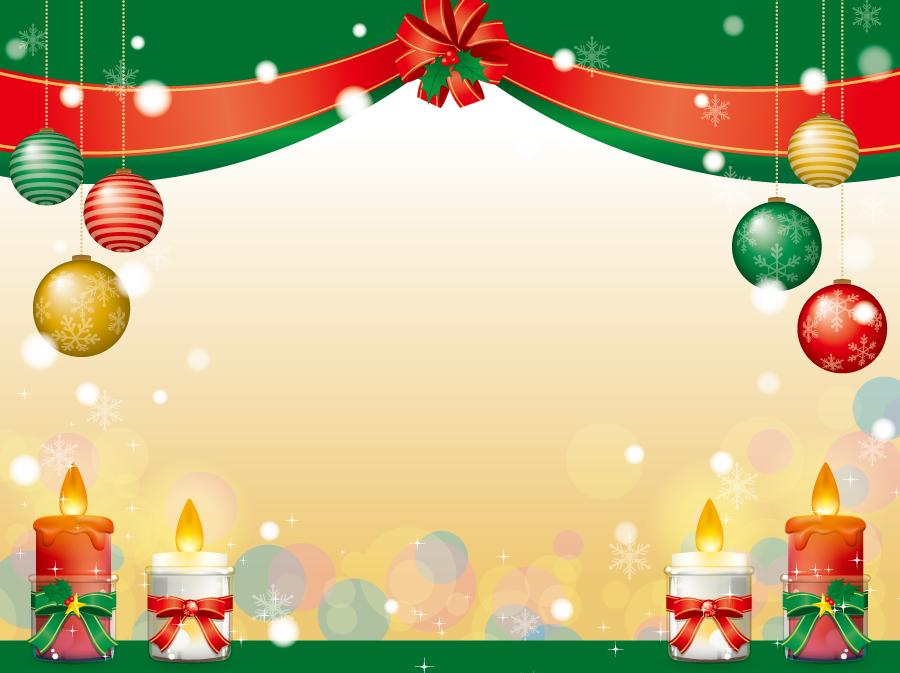 フリーイラスト クリスマスボールとろうそくのクリスマスのフレーム