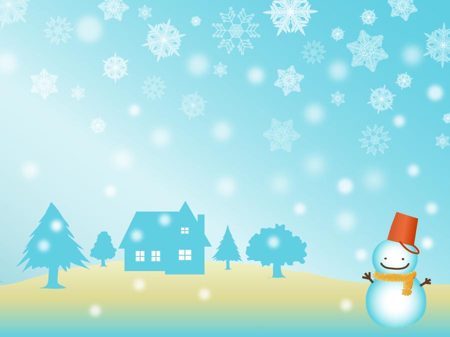 フリーイラスト 雪だるまと家と雪の背景