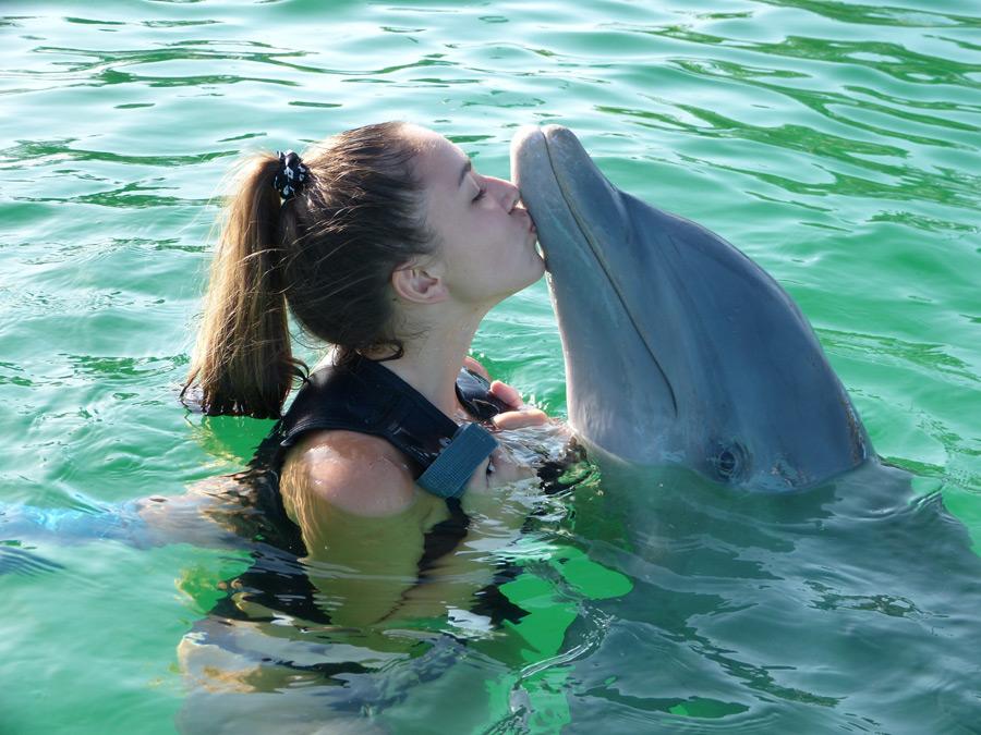 フリー写真 イルカにキスをする外国人女性
