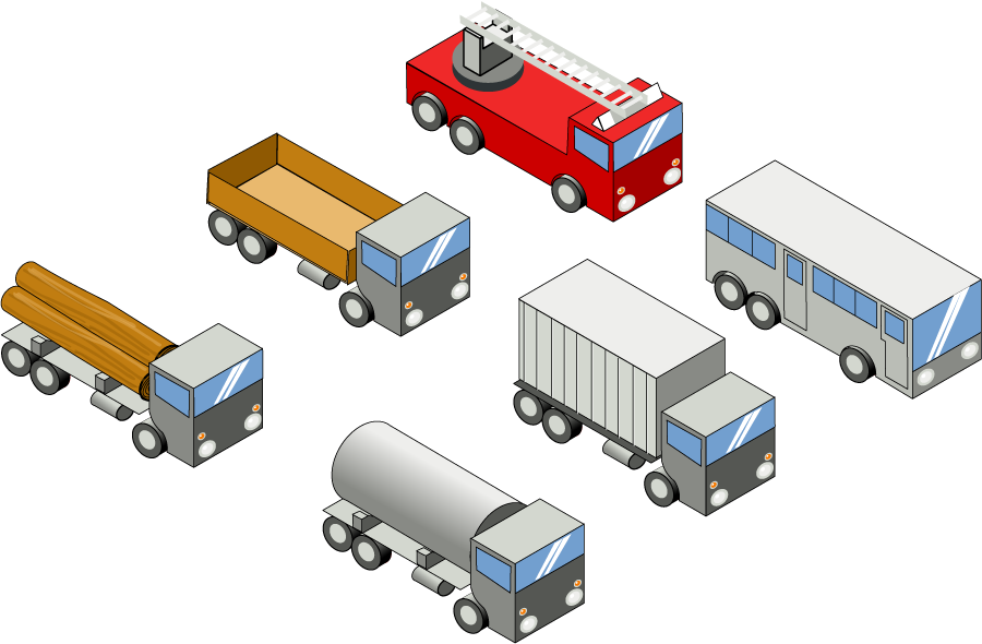 フリーイラスト 貨物車などの6種類の働く車のセット