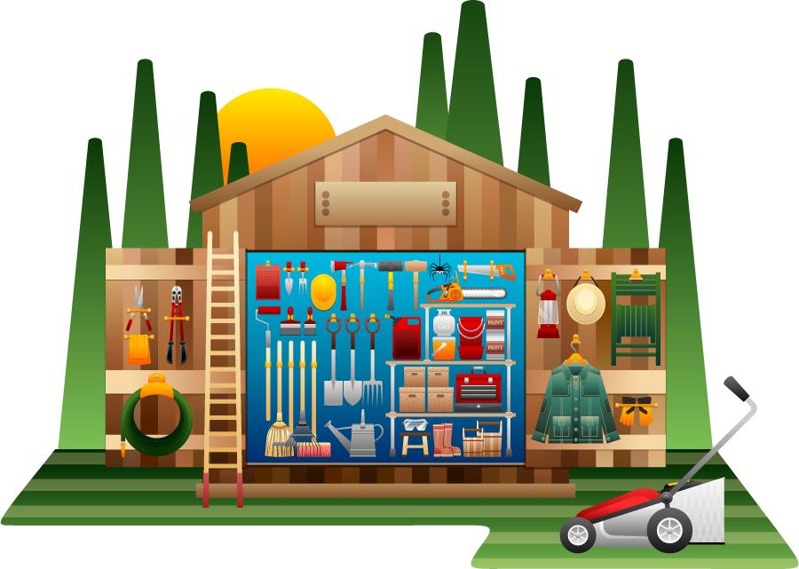 フリーイラスト 工具や農具の詰まった物置小屋