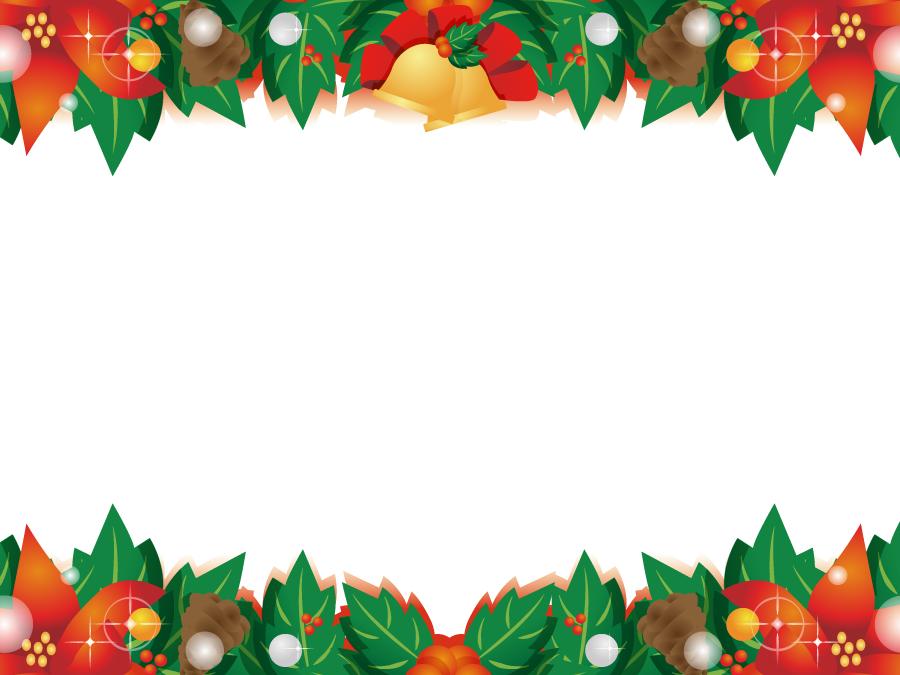 フリーイラスト ポインセチアとセイヨウヒイラギのクリスマスフレーム