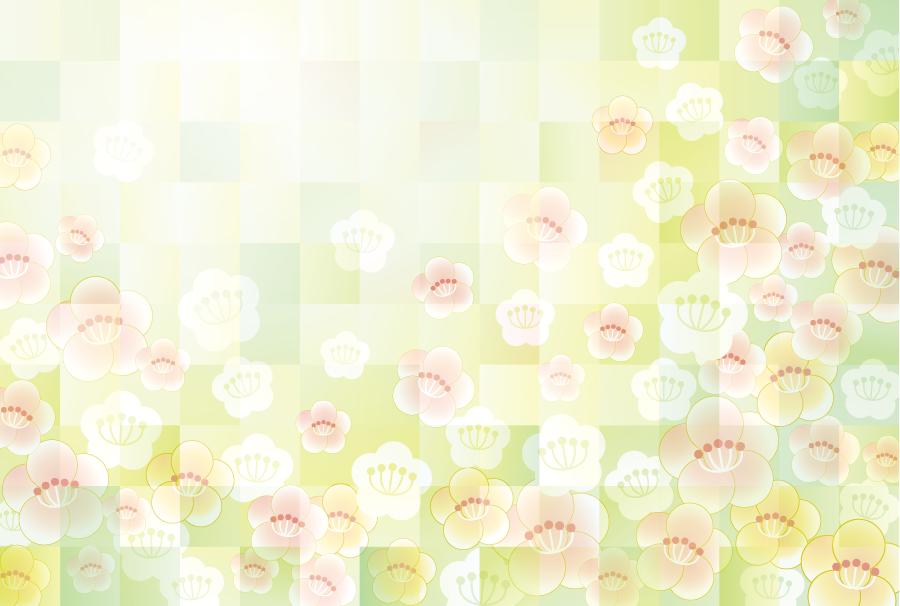 フリーイラスト 梅の花の新春の背景