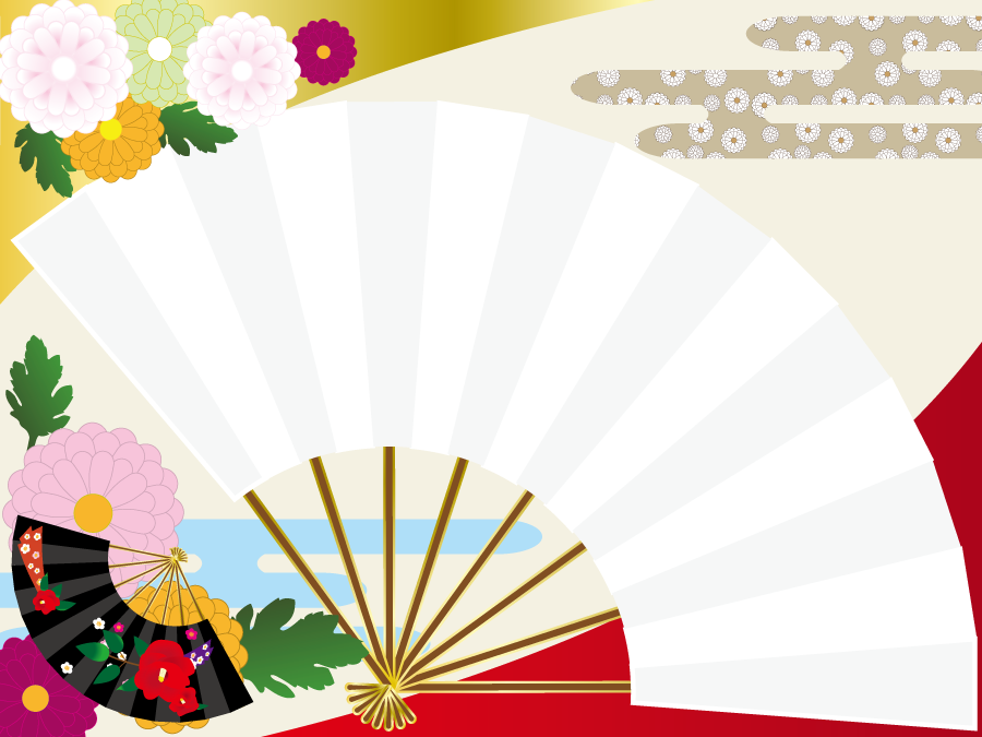 フリーイラスト 扇子と菊のお正月の背景