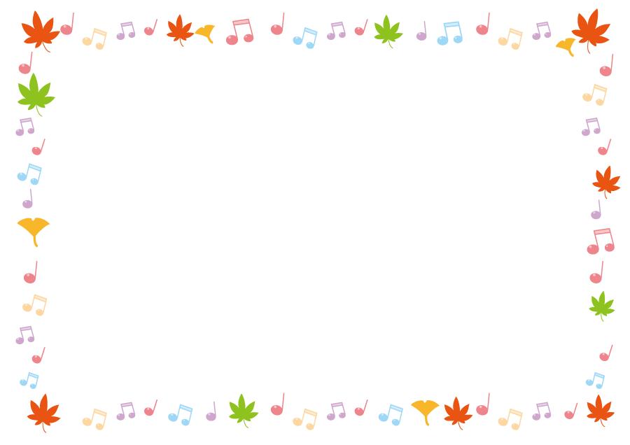 フリーイラスト モミジとイチョウの葉と音符のフレーム