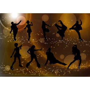 フリーイラスト, ベクター画像, AI, 人物, シルエット(人物), 踊る(ダンス), クラブ(ディスコ), ブレイクダンス, 玉ボケ
