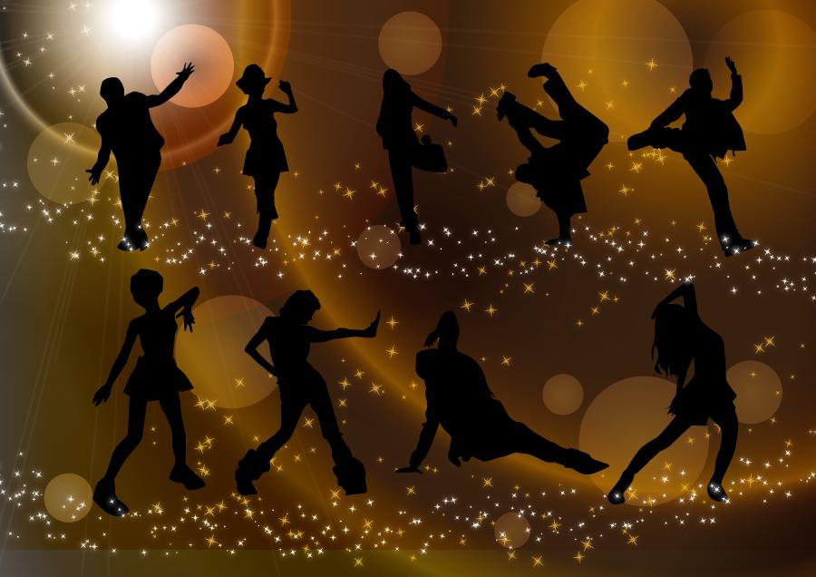 フリーイラスト クラブで踊る9人のダンサーのセット