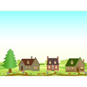 フリーイラスト, ベクター画像, AI, 風景, 建造物, 建築物, 住宅, 家(一軒家), 田舎, 青空